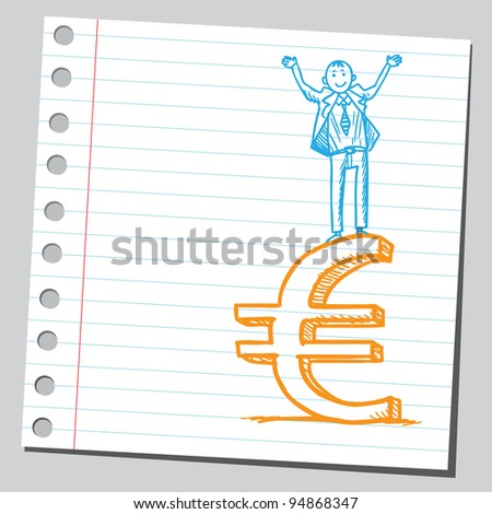 Businessman standing on euro sign