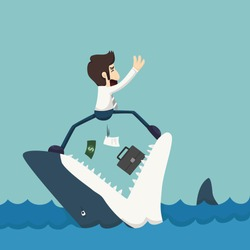 Businessman standing on Jaws of shark , eps10 vector format
