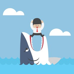 Businessman standing on Jaws of shark, VECTOR, EPS10