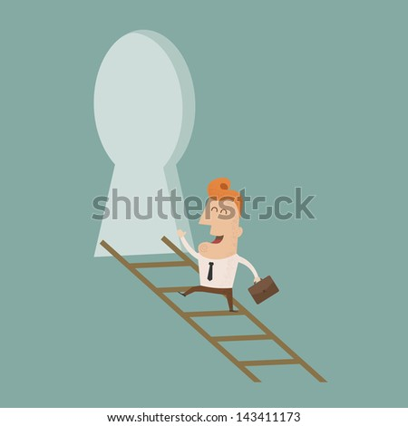 ShutterStock Businessman standing on ladder holding key eps10 vector