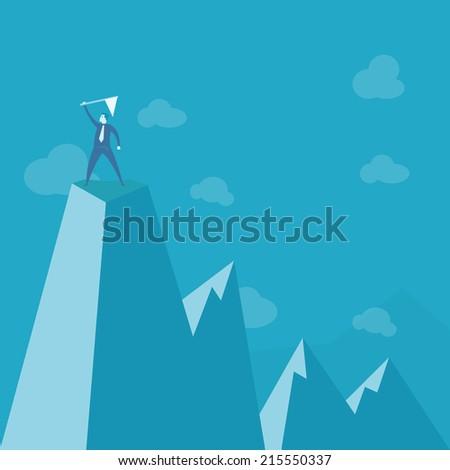 businessman standing on peak