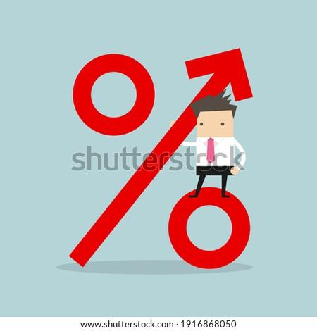 Businessman standing on percentage sign. Revenue growth. ストックフォト ©