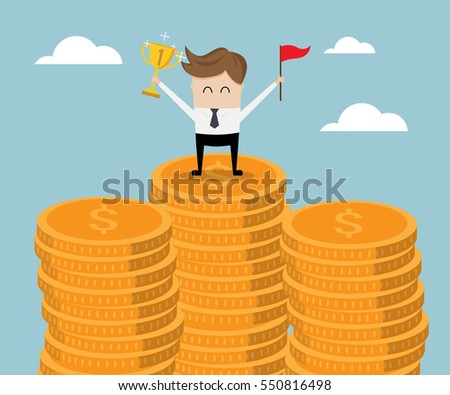 businessman standing on stack