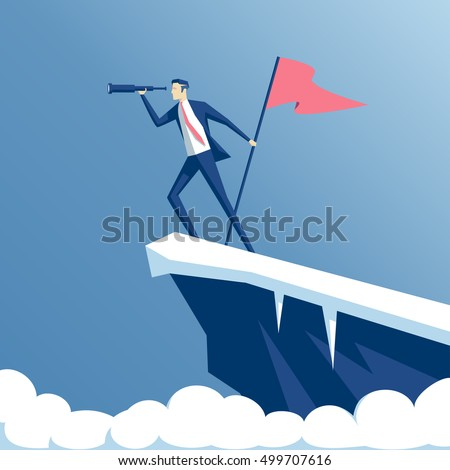 businessman standing on top of a mountain with a flag and looking into the telescope, the employee climbed the peak and hoisted the flag, business concept success and search opportunities