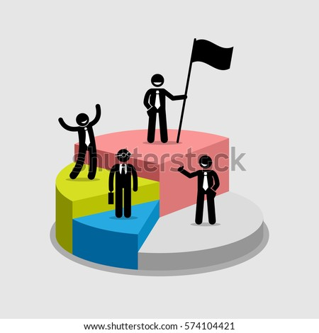 Businessman standing on top of each portion of a pie chart. Vector artwork diagram depicts profit sharing, successful partnerships, company shares ownership, and shareholders.
