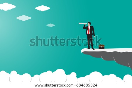 Businessman standing on top of the mountain cliff using binoculars looking for success. Concept business illustration vector flat