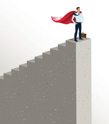 Businessman standing on top stairs vector illustration, success and career progress concept, leadership ambitions, gorgeous handsome business man.