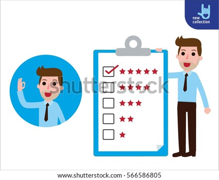 Businessman standing  presentation quality billboard. Vector flat cartoon character icon design.