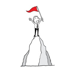 businessman standing with red flag conquering top of mountain. success inspiration concept. isolated vector illustration outline hand drawn doodle line art cartoon design character.