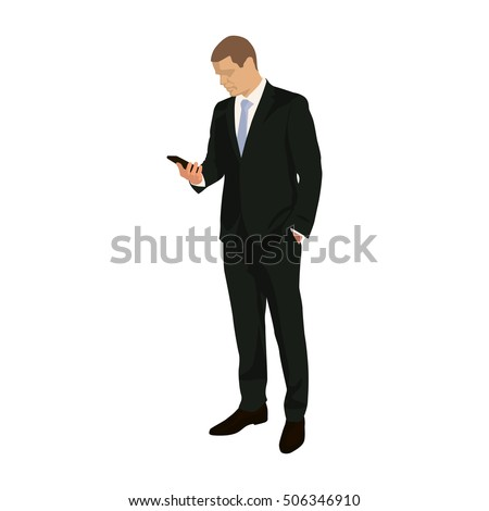 businessman stands and holds