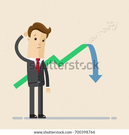Businessman stands and looks at the line graph going down. Business and finance concept. Vector, Illustration, Flat