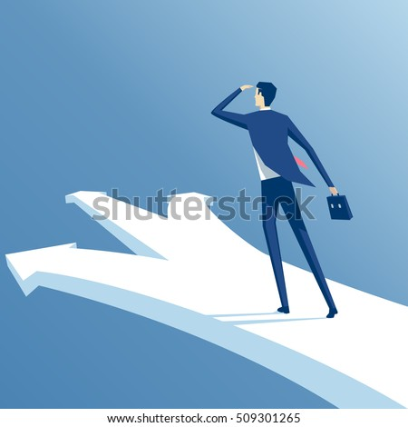 businessman stands at a crossroads, confused employee trying to make the right choice, business concept opportunities and options vector illustration