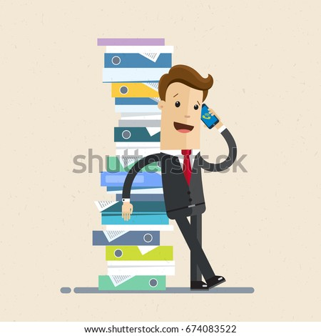 Businessman stands next to a pile of folders with papers and talking by phone. Vector, illustration, flat