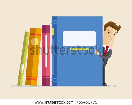Businessman stands next to the big books and points to headline. Vector flat illustration