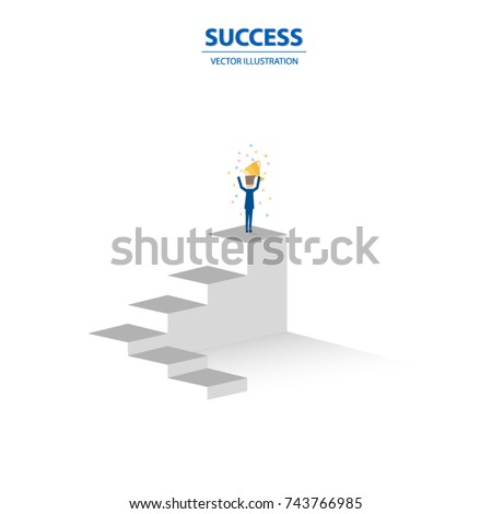 Businessman stands on the top of stairs, business concept of leadership, talent, outstanding, creative and power to lead the team become successful.