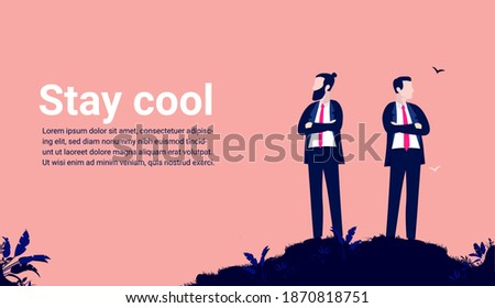 businessman stay cool   two men