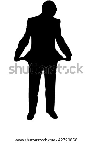 Businessman stay with empty pockets. Icon. Vector