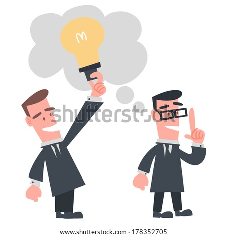 Businessman Stealing Idea from the Other