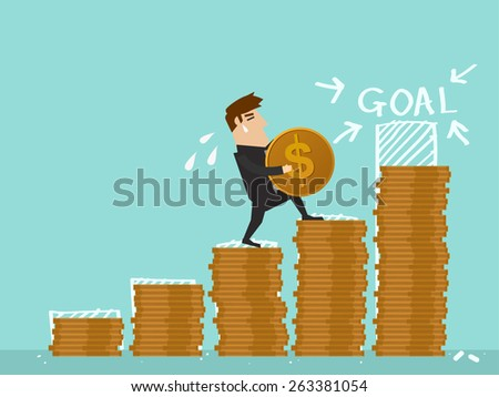Businessman step on stack of coin in investment progress concept.