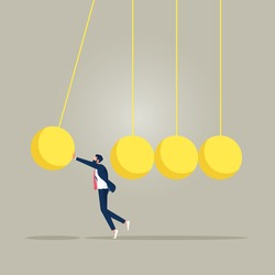 Businessman stopping newtons cradle, stop domino effect, finance intervention