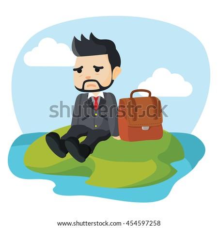 businessman stranded on a