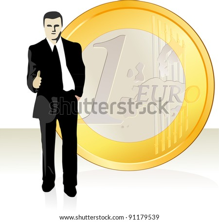 Businessman  stretching out his hand in front of the Euro coin