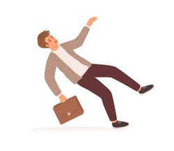 Businessman stumbling and falling down. Fall of young man with briefcase. Career failure, fiasco, crisis, problem and trouble concept. Colored flat vector illustration isolated on white background