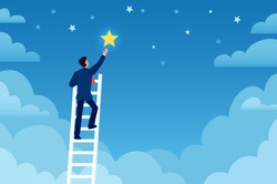 Businessman success. Man on ladder reaches stars on sky, achieve goals and dreams. Career up, leadership, creative flat vector concept. Employee climbing up night sky, successful career