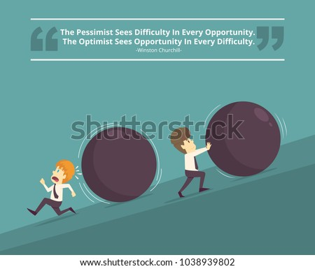 Businessman successful and Businessman unsuccessful.Cartoon of business, employee successful and unsuccessful is the concept of the man characters business, background, infographic.Vector illustration