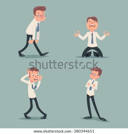 Businessman Suffer Emotion Fear Horror Depression Sadness Anger Arrogant Contempt Melancholy Stress Character Icons Set Stylish Background Retro Vintage Cartoon Design Vector Illustration