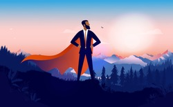 Businessman superhero - African-American man with red cape standing proud in landscape being a brave hero. Business leader, winner and minority success concept. Vector illustration.