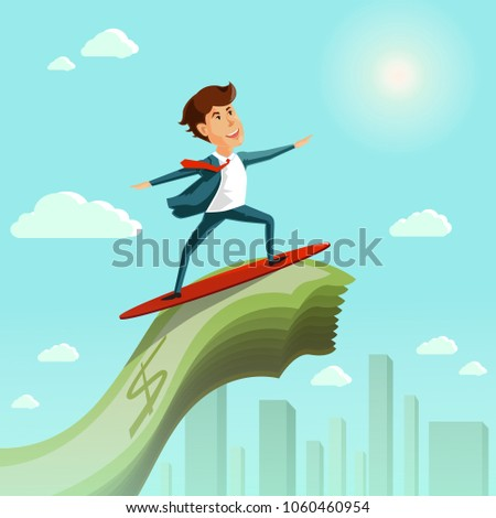 businessman surfing on the wave