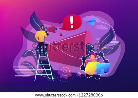 Businessman talk in megaphone with exclamation point. Draw and requiring attention, attention span and take note concept on ultraviolet background. Bright vibrant violet vector isolated illustration