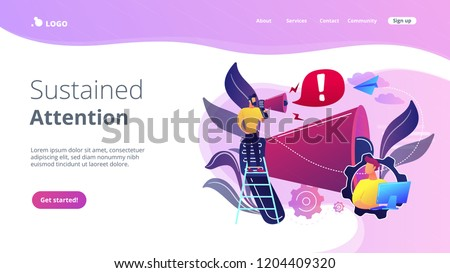 Businessman talk in megaphone with exclamation point. Draw attention, attention span and take note, requiring attention concept on white background. Website vibrant violet landing web page template.