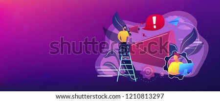 Businessman talk in megaphone with exclamation point. Draw attention, attention span and take note, requiring attention concept on white background. Header or footer banner template with copy space.