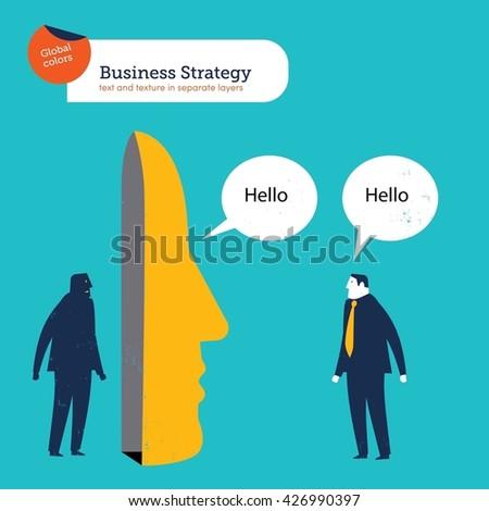 businessman talking behind a