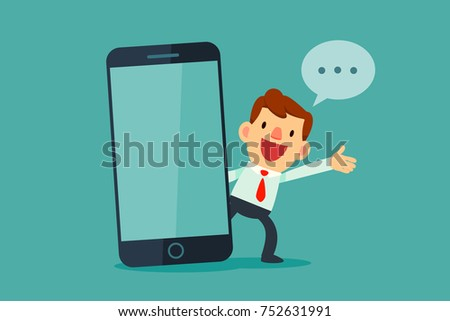 Businessman talking beside big smart phone with blank screen. Business communication concept.