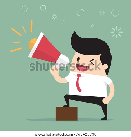 Businessman talking into megaphone. Make an announcement.Cartoon of business success is the concept of the man characters business, the mood of people, can be used as a background. illustration vector