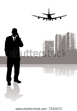 businessman talking on his phone while a plane flies over head