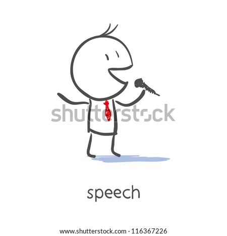 Businessman Talking On Microphone