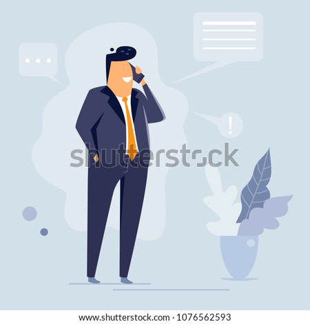Businessman talking on phone, flat character design, vector illustration