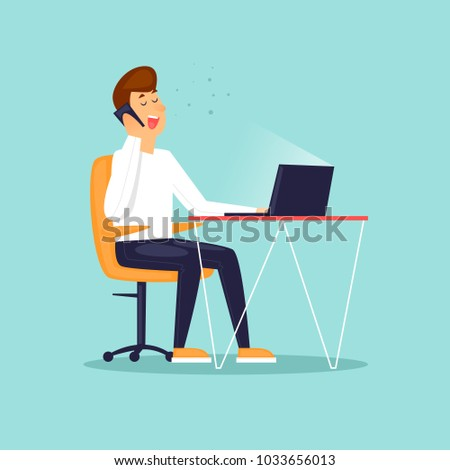 Businessman talking on the phone. Business characters. Workplace. Office life. Flat design vector illustration.