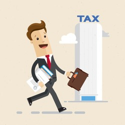 Businessman, tax office. Man carries tax documents. Flat style illustration, vector, EPS10.