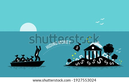 Businessman taxpayer hiding money at tax haven island. Vector illustration concept of money laundering, embezzlement, offshore banking to avoid tax, tax evasion, business crime, and illegal income. Сток-фото ©