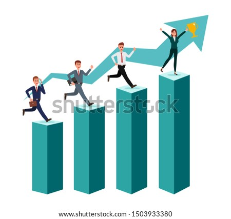 Businessman team running up the stairs to the goal in the form of a flag, career planning, career development concept. Vector illustration.