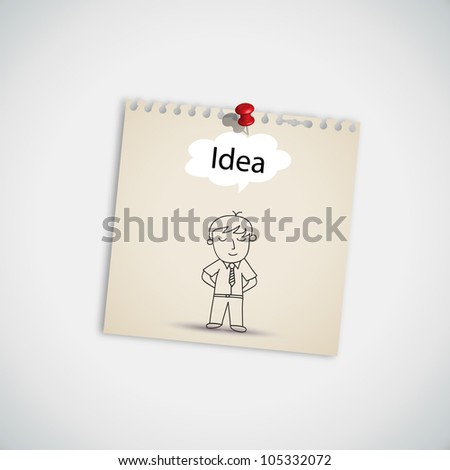 Businessman Thinking Idea Balloon Concept on Note Paper Vector