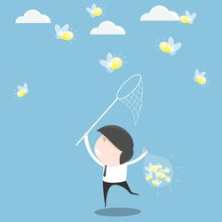 Businessman trying to catch a light bulb. vector illustration