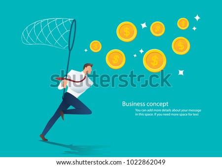 businessman trying to catch money business concept Stock foto ©