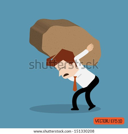 Businessman trying to lift a rock
