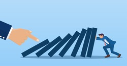 Businessman trying to stop falling domino effect . Business crisis management and solution concept. Concept of risk. hand pushes dominoes standing in row. Vector illustration in flat style.